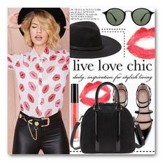 """Kiss me!"" by stylemoi-offical ❤ liked on Polyvore featuring Vince Camuto, Stila, Zara, Topshop, Ray-Ban and stylemoi"