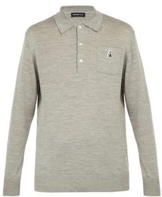 1eda7907f9ee Undercover Long Sleeved Wool Polo Shirt - Mens - Grey