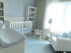 Peaceful and Soothing Baby Blue Nursery - love the bookcases flanking the crib