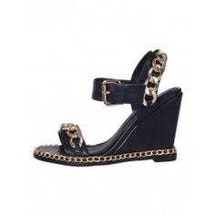 Posh Girl Black Gold Chain Wedge shoes