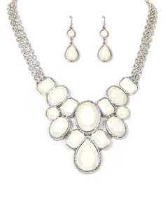 Look what I found on #zulily! Silver & Ivory Teardrop & Oval Bib Necklace & Earrings #zulilyfinds