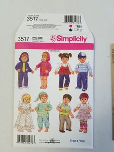 """Simplicity Sewing Pattern 3517 Twin Boy Girl Doll Clothes 15"""" Uncut Drake Ferris"""