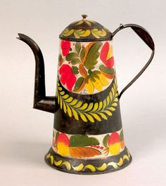 "Pook & Pook.  September 26th 2008.   Lot 107.  Estimated: $6K - $9K.   Realized Price: $14,040.   Exceptional Pennsylvania tole coffee pot, 19th c., retaining a vibrant floral and foliate swag decoration, 10 1/4"" h."