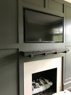 So glad you enjoyed Kelly's home. Paint Fireplace, Fireplace Mantle, Living Room With Fireplace, Fireplace Ideas, Urbane Bronze Sherwin Williams, Tv Wall Design, Ceiling Treatments, Framed Tv, Cozy Kitchen