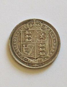 1890 antique one shilling silver coin - POSPO Investments