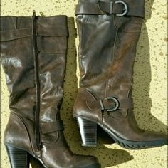 """Dark Brown Boots Dark Brown Boots purchased a Kohl's. Worn a few times, light scuff marks on heels but none on the boot itself (top, sides).  Tons of wear left as you can see in the pictures. Womans size 6. Total height, including heel is 15.5"""". Heel height over 2.5"""", less than 3"""". Zippers work perfect. Buckle accents. Comes from a smoke free home. Will not ship in a box. No trades, thank you. Shoes Heeled Boots"""