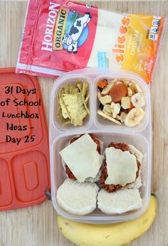 Sloppy Joe Sliders with Cheese Plus Fruit and Veggies Snacks For Work, Healthy Work Snacks, Lunch Snacks, Yummy Snacks, Kid Lunches, Diet Snacks, Lunch Recipes, Whats For Lunch, Lunch To Go