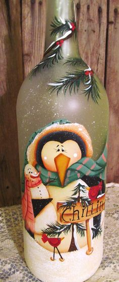 Penguin and Snowman Frosted Glass Wine Bottle by PaintingByEileen