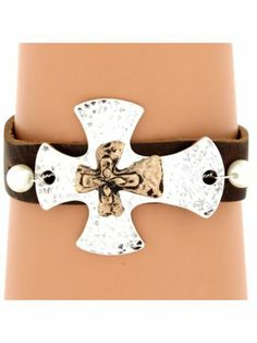 Two-Tone Hammered Double Cross Leather Bracelet