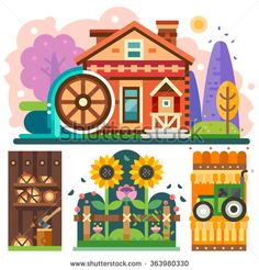 Farm house in the forrest with water wheel. Cozy nice colored isolated scenery barn with axe and firewood, village house, tractor on the wheat field, sunflowers. Flat vector illustration.