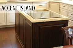 """This #kitchen #island in a contrasting """"Mocha"""" finish from Koch.   