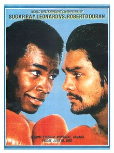 """Roberto Duran vs Sugar Ray Leonard Boxing Poster 1980 • $9.95 - 100% Mint unused condition • Well discounted price + we combine shipping • Click on image for awesome view • Poster is 12"""" x 18"""" • Semi-Gloss Finish • Great Boxing Collectible - superb copy of original • Usually ships within 72 hours or less with > tracking. • Satisfaction guaranteed or your money back. Sportsworldwest.com"""