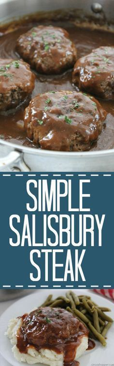 Simple Salisbury Steak – perfect weeknight recipe idea to serve the family. Add … Simple Salisbury Steak – perfect weeknight recipe idea to serve the family. Add in some mashed potatoes and your favorite veggies for the ultimate comfort food Beef Dishes, Food Dishes, Main Dishes, Dishes Recipes, Food Food, Easy Dinner Recipes, Easy Meals, Kids Meals, Supper Recipes