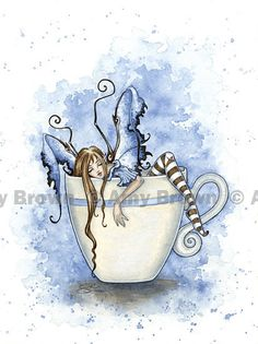 I Need COFFEE FAIRY 8.5x11 PRINT by Amy Brown, $14.00.