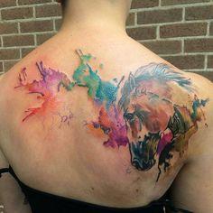 Beautiful watercolor horse tattoo by @clairejacksonartwork #watercolour #horsetattoo