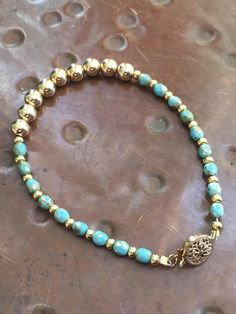 14K Gold Filled, Green & Gold Fire Polish Beaded Bracelet by Dajamana on Etsy