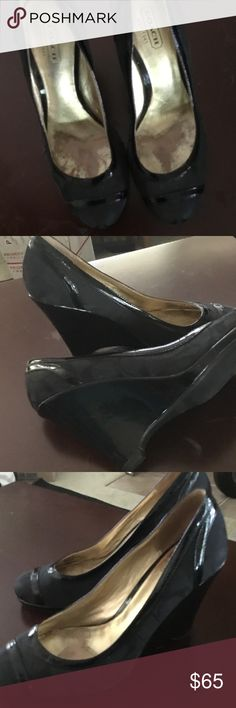 Authentic COACH Kerry Anne Wedge Pump Heels This pair I bought working to get a female combat veteran back to work. She wore them to interview and got the job, the rest is history.... No surcharge for the good luck they come with... lol.  #Coach classic heels Coach Shoes Mules & Clogs