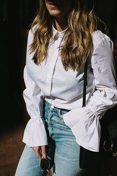 white button down & jeans   ruffle sleeves   tuckernuck
