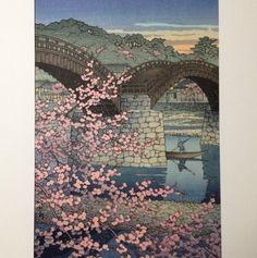 Very RARE Kawase HASUI Japanese Woodblock Print 1947 Kintai Bridge Spring