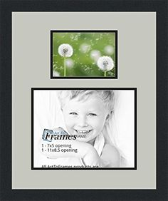 arttoframes collage photo frame double mat with 1 85x11 5x7 openings and satin black frame