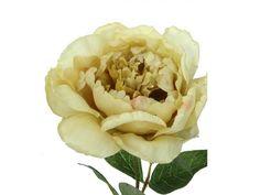 """Vara de peonia, de flor artificial, en tallo con hojas verdes, de 67 cms de altura y 13 cms de diámetro. Colección """"Romantic"""". Disponible en color crema, coral, mostaza y turquesa."""