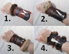 1 Tribal Leather Cuff Viking Barbarian by FolkOfTheWoodCrafts Satyr Costume, Costume Viking, Barbarian Costume, Viking Cosplay, Leather Armor, Leather Cuffs, Leather Braces, Cosplay Diy, Cosplay Costumes