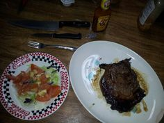 Pan fried ribeye with county salad