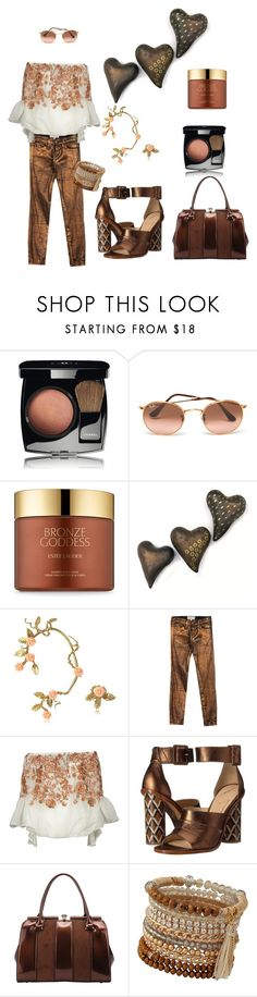 """Say it in Bronze"" by glamourgrammy on Polyvore featuring Chanel, Ray-Ban, Estée Lauder, Bernard Delettrez, Current/Elliott, Black Coral, B Brian Atwood, MKF Collection and ALDO"