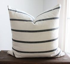 Striped Gray Modern Farmhouse Pillow Covers, Off-White with Dark Gray Stripe, Scandinavian, Minimalist Decor, Cover Only Rustic Bed Pillows, Rustic Bedding, White Pillows, Vintage Pillows, Decorative Pillows, Throw Pillows, Dark Brown Couch, Dark Grey Couches, Brown Couch Living Room