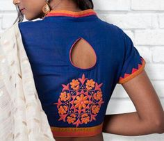 High Neck Blouse With Designer Back Keyhole 22 Graceful Pics of simple thread work blouse & Saree designs Saree Blouse Patterns, Saree Blouse Designs, Blouse Styles, Blouse Designs High Neck, Fancy Blouse Designs, Choli Designs, Stylish Blouse Design, Blouse Models, Work Blouse