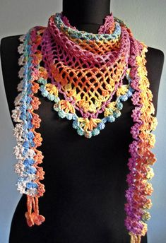 Check out her Etsy shop--Loads of beautiful scarves and shawls. No patterns, but good for inspiration.