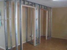 Adding a closet for extra space using metal framing and drywall Drywall, Framing A Closet, Metal Stud Framing, Basement Construction, Closet Built Ins, Cove Lighting, Build A Wall, Build A Closet, Basement House