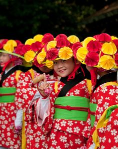 Little girls all dressed in kimono costume for festival at Meiji shrine, Tokyo, Japan