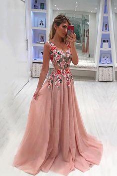 A Line Broad Straps Floral Appliqued Prom Dress, Cheap Long Tulle Evening Dresses OKI33 – Okdresses