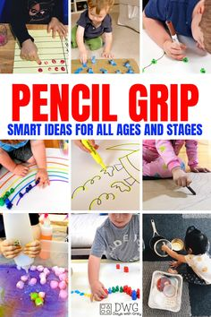 pencil grip activities and ideas fine motor development palmar grasp tripod grasp preschool toddler tips for holding a pencil Fine Motor Activities For Kids, Motor Skills Activities, Toddler Activities, Learning Activities, Writing Activities For Preschoolers, Sensory Activities, Occupational Therapy Activities, Cutting Activities, Handwriting Activities