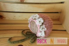 RTS Knit Floral Mohair Blossom Bonnet with Crochet ties 0 to 3 months ready to ship photo prop by RockNWool on Etsy