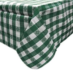 "52"" x 70"" Green Gingham Vinyl Table Cover with Flannel Back"