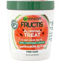 Garnier Fructis Plumping Treat 3-in-1 Hair Mask, for Fine Hair, 13.5 fl. oz. - Walmart.com - Walmart.com Best Hair Mask, Hair Masks, Tartaric Acid, Thing 1, Sleek Hairstyles, Be Natural, Damp Hair Styles, Smooth Hair, Make Up