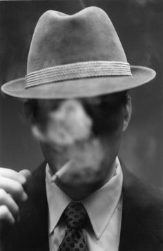 Smoke by Stephen Sheffield on Etsy -- Portrait - Smoke - Hat - Black and White - Photography