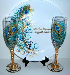 Plumes de paon, flûtes à Champagne & plaque Set 2 oz 6 flûtes grillage + 10 1/2 plaque + Stand anniversaire de mariage personnalisé peint à la main