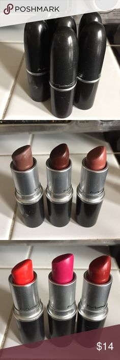MAC lipsticks Cleaning out some of my lesser used Mac lipsticks bc they dry out my lips. Some are from my make up artist kit and some were mine. All sanitized and all barely used. Lady danger(bright orange/red matte) Double shot(nude mauve amplified) Dubonnet(Burgandy amplified) Stone(gray/brown matte) Film noir(satin deep brown) Girl about town (amplified pink) can be purchased together or sep lmk if u want a single or bundle MAC Cosmetics Makeup Lipstick