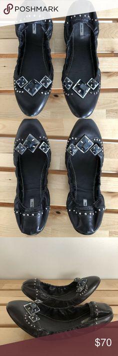 55c2ced4b1b MIU MIU 11 Black Embellished Studded Ballet Flats
