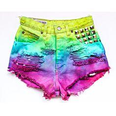 High Waisted Denim Shorts - Colorful Rainbow Studded Shorts ($90) ❤ liked on Polyvore