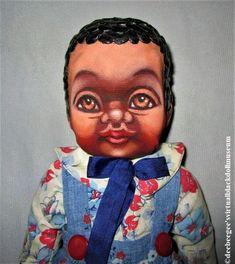 Jason by Robert Zacher – DeeBeeGee's Virtual Black Doll Museum™ Floral Print Fabric, Floral Prints, Ooak Dolls, Art Dolls, Doll Museum, Wooden Rabbit, Brown Paint, Doll Painting, Printing On Fabric