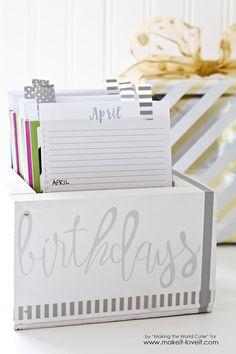 Birthday Reminder Box With FREE Printable Calendars