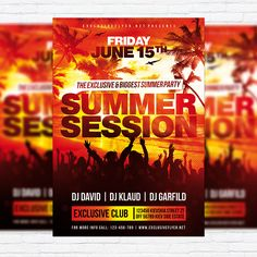 Summer Session – Premium Flyer Template + Facebook Cover http://exclusiveflyer.net/product/summer-session-premium-flyer-template-facebook-cover/