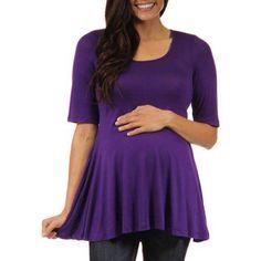 24/7 Comfort Apparel Women's Maternity 3/4-sleeve Tunic, Size: 1XL, Purple
