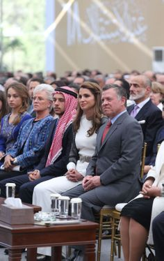(R-L) King Abdullah II of Jordan, Queen Rania, the crown prince Hussein, Princess Muna al-Hussein, Princess Iman at the forefront during the celebrations of the Jordanian national holiday on 25.05.2014, on the 68th anniversary of the independence of the Kingdom, at the Amman Raghadan Palace.