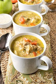 Chicken Mulligatawny Soup - A Family Feast® Cooking For Three, Fall Soup Recipes, Dinner Recipes, Best Comfort Food, Yum Yum Chicken, How To Cook Chicken, Soup And Salad, Soups And Stews, Pasta Dishes