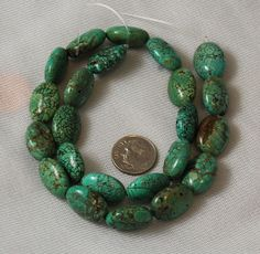 Vintage turquoise oval beads